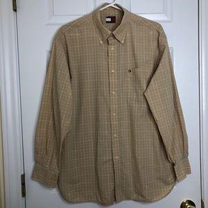 Tommy Hilfiger Dress Shirt Light Tan Size Large